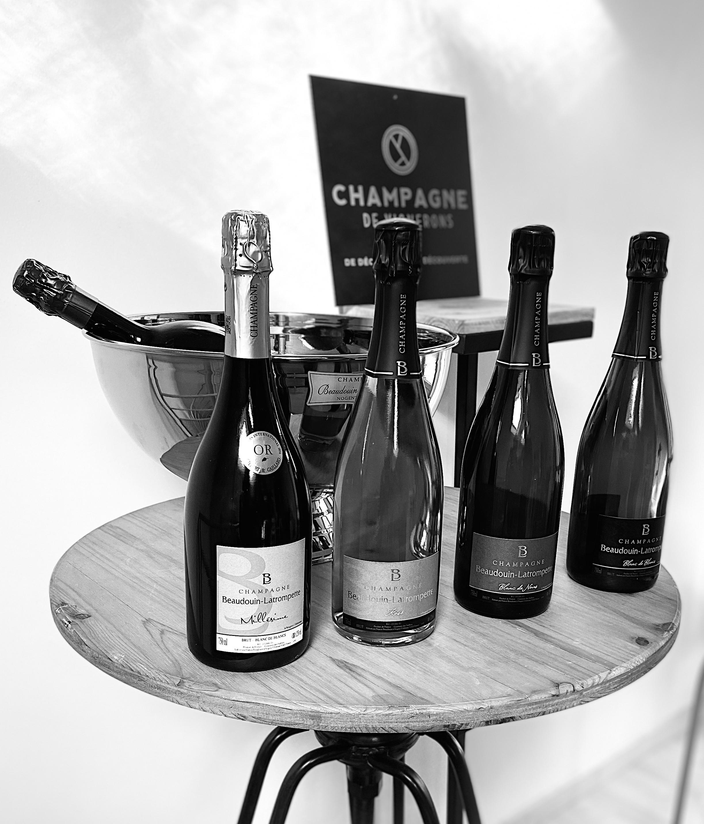 exposition bouteilles champagne beaudouin latrompette
